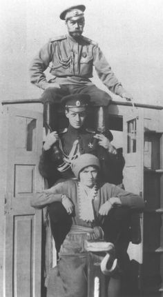 Emperor Nicholas II, Grand Duke Dmitri Pavlovich, and Grand Duchess Tatiana Nikolayevna of Russia A rarer photo of a well known photo set