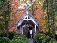 The chapel in the woods at the Grotto of Lourdes of Emmitsburg, Maryland.