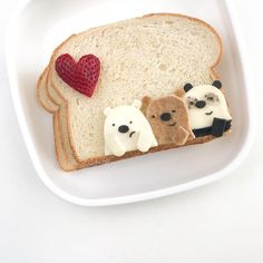 aesthetic food we bare bears ice bear grizzly panda strawberry bread beige I Love Food, Good Food, Yummy Food, Cute Desserts, Dessert Recipes, Cafe Food, Aesthetic Food, Macaron, Bento