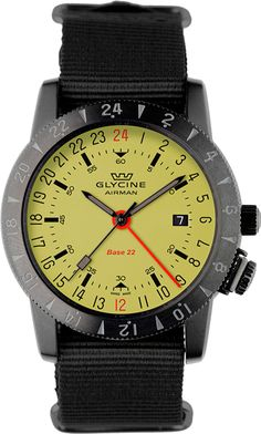 """Remaining true to its heritage the Airman Base 22 """"Luminouos"""" Ref. 3887.95SL-TB99 from Glycine is an iconic and classic pilots watch that's made with modern materials to today's standards with the aes"""