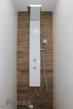 Duschpaneel Lavida Plus mit Schwallfunktion. Edelstahl poliert mit Glasfront…