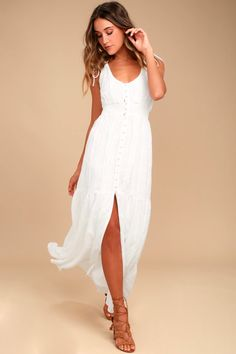 White Dress - Embroidered Maxi Dress - Button-Down Dress