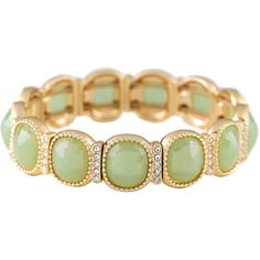 Monet Gold-Tone Crystal & Green Stone Stretch Bracelet (130 DKK) ❤ liked on Polyvore featuring jewelry, bracelets, stretch jewelry, monet jewellery, crystal jewelry, gold tone bangles and green bangles