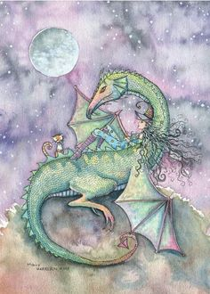 Witch and Dragon Fine Art Print by Molly by MollyHarrisonArt, $18.00