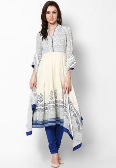 Biba Off White Solid Cotton Churidar Kameez Dupatta - Buy Biba Women Salwar Kameez Online India Fashion, Ethnic Fashion, Fashion Fashion, Indian Attire, Indian Ethnic Wear, Pakistani Outfits, Indian Outfits, Churidar, Patiala