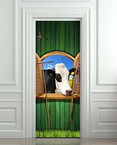 Door Wall or Fridge STICKER barndoors cow barn country decole mural poster Fridge Stickers, Door Stickers, Wall Stickers Murals, Farm Village, Door Wall, Interior Walls, Eastern Europe, Deco, Illusions