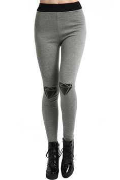 Diamante Patch Light-grey Leggings. Description Light-grey leggings, featuring an elastic waist, contrasting diamante patch print on both laps, a regular length and all-in a soft touch. Fabric Cotton. Washing 40 degree machine wash, do not bleach, do not tumble dry, cool iron on reverse, do not dry clean. #Romwe