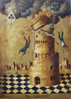 "Arcane XVI : La Maison-Dieu - Jake Baddeley - ""The Tower"" - Huile sur toile. Turm Von Babylon, Tower Of Babel, Tarot Major Arcana, Spiritus, Tarot Decks, Archetypes, Surreal Art, Intuition, Apocalypse"