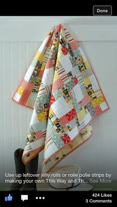 """I like the idea of how to use """"leftovers"""" and really like this quilt pattern from the Craftsy website"""