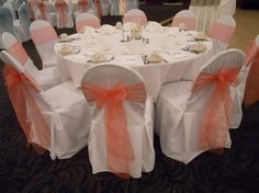 Coral wedding decorations google search wedding pinterest wedding decor wedding jewelry 150 coral organza sashes 150 junglespirit Images