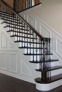 Stairway #5 features a remodeled stairway from wood balusters to iron balusters using IronPro Iron Baluster Fasteners, LIH-HOL1BASK44 and LIH-HOL2BASK44 Iron Balusters.