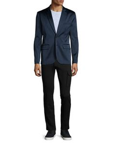 Satin Two-Button Blazer, Slub-Knit Crewneck Tee & Slim-Fit Stretch Cargo Pants by ATM at Neiman Marcus.