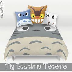 Totoro Bed Set Duvet Bedding Pillow Cover Kawaii My Neighbor Catbus Bedroom Decor Decorative Grey Blue White Anime Hayao Miyazaki Ghibli Art by CanisPicta on Etsy https://www.etsy.com/listing/248784108/totoro-bed-set-duvet-bedding-pillow