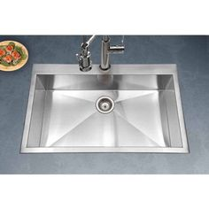 Houzer BLS 3322 Bellus Series Zero Radius Topmount Stainless Steel Single  Bowl Lavatory Sink,