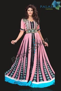 Model Number: PFK11  Color: Pink, Black, Sky Blue  Inner Fabric: Satin  Outer Fabric: Chiffon, Brocade & Silk Patch at Bottom  Embroidery: Stone,