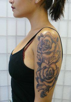 Hot Rose Sleeve Tattoo Inspiration