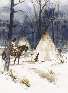 Andy Thomas, Winter Camp, watercolor 14 x 11.