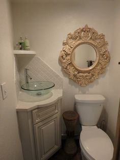 Traditional Powder Room with Limestone Tile, The Veda Company 4304 Round Scroll Mirror, High ceiling, Vessel sink, Stone Tile Corner Sink Bathroom, Small Bathroom Vanities, Hall Bathroom, Chic Bathrooms, Bathroom Design Small, Bathroom Renos, Bathroom Designs, Bathroom Remodeling, Bathroom Ideas