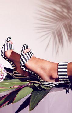 Chloe ~ Ankle Strap High Heel Sandals, Black/White Stripes