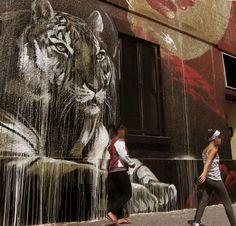 Tigre en jungla de asfalto #InkMX #ArteUrbano