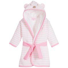 Mayoral Newborn - Baby Cotton Towelling Pink Striped Bathrobe | Childrensalon