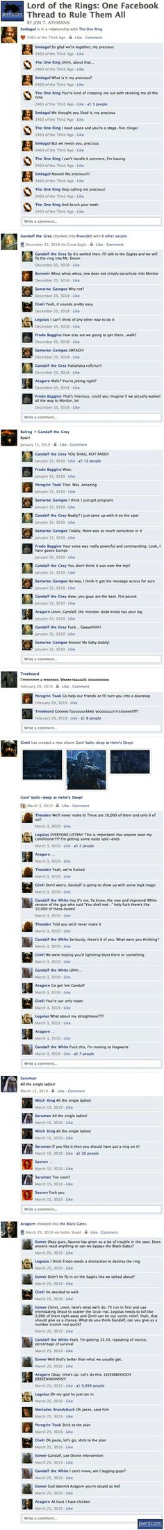 """Lord of the Rings: One Facebook Thread to Rule Them All"" by Jon T. Athmann on geeksaresexy.net."