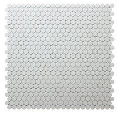 12.7mm White Unglazed Penny Round Tile #tiles #mosaic #walltiles #homedecor #pennyroundtiles #interiordecor