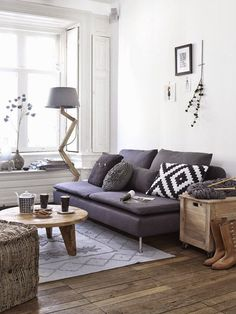 Small living room with grey sofa