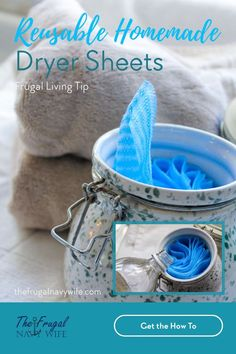 Save money on your laundry bill each month by making these easy homemade dryer sheets. Never spend money on them again and they are reusable. #thefrugalnavywife #dryersheets #frugalliving #homemade #savemoney #frugaldiy | Frugal Living Tips | Reusable Dryer Sheets | How to make Dryer Sheets | Frugal DIY | Saving Money | Homemade Dryer Sheets Deep Cleaning Tips, Household Cleaning Tips, House Cleaning Tips, Diy Cleaning Products, Cleaning Hacks, Household Products, Homemade Products, Cleaning Recipes, Do It Yourself Projects