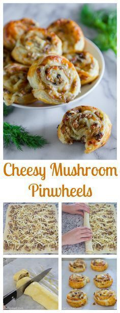 Sauteed mushroom and mozzarella cheese rolled into puff pastry pinwheels. Más