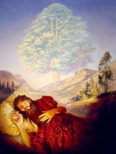 King Nebuchadnezzar dreaming about an enormous tree