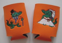 Florida Gator Wedding Koozies Albert & Alberta Get Married. these are perfect for every gator bride & groom.