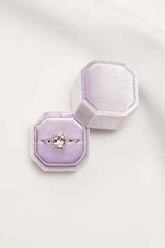 Lena Lavender Ring Box by Lace Byrd from Sash & Bustle #sashandbustle #lacebyrd #velvetringbox