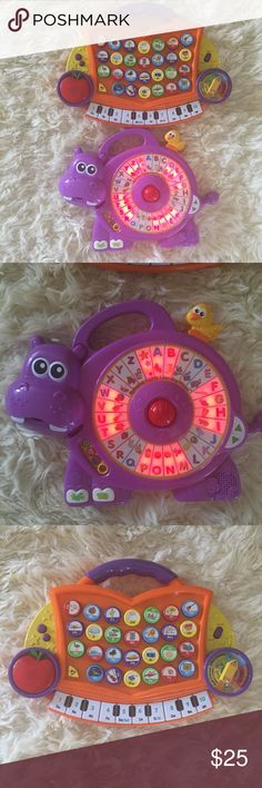 Education & Learning Toys Bundle Have a blast with the Spinning Lights Learning Hippo by VTech. This vocabulary builder uses moving lights with six fun activities to encourage language development as well as introduce numbers by making a connection between what they see and what they hear.  The Learning Journey International toy has a lot of functions to learn alphabet, numbers,find it, music and numbers.  Everything works fine, pre owned vtech Other