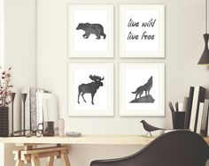 Set of 4 Wild Forest Animals Live Wild Quote Print Digital Print  _________________________  Item Details  - Please be aware this is a digital download and will not be shipped by mail to you. After purchase you will receive an e-mail with a link to digitally download this print to your computer. - Print measures 8 x 10  - Please be aware that every monitor is different, the color you see on the screen may look slightly different when printed out  - The Wanderlust Star watermark will not be…