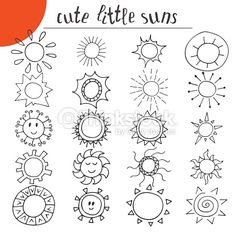 Hand drawn cute little suns. Doodle set More Hand drawn cute little suns. Doodle set More Hand drawn Sun Doodles, Doodles Zentangles, Zentangle Patterns, How To Doodles, Easy Doodles, Little Doodles, Doodle Inspiration, Bullet Journal Inspiration, Doodle Drawings