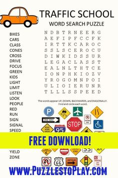 Free Word Search Puzzles, Free Printable Puzzles, Puzzle Games, Puzzle Books, Learning To Drive, Classroom Games, Adult Games, Word Games, Love Words