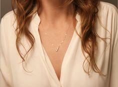Delicate V Necklace / Minimal Dainty CZ V by LayeredAndLong