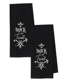Black 'Trick or Treat' Embroidered Dish Towel - Set of Two