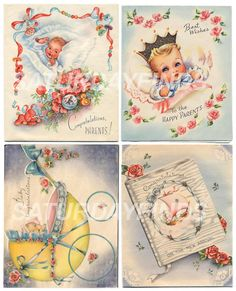 New Baby No 9 of 12 Vintage Greeting Cards  by saturdayfinds, $3.25