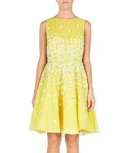 Realizzato in cotone, questo abito Blugirl ha un ricamo di margherite e paillettes e un ampio scollo rotondo, corpino aderente e gonna corta svasata.