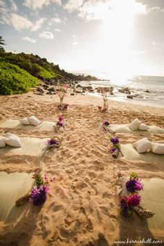 19 Charming Beach and Coastal Wedding Ideas---outdoor wedding ceremony, beautiful beach wedding decorations, guest beach mats and pillows Simple Beach Wedding, Beach Wedding Bouquets, Beach Wedding Colors, Beach Wedding Guests, Beach Wedding Attire, Beach Wedding Reception, Wedding Aisle Decorations, Beach Ceremony, Hawaii Wedding