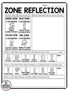 Zones of regulation behavior reflection sheet. This sheet helps student self regulate what zone they are in. It gives options for calming strategies to use to get back into the green zone. This is one sheet included in my calm down tool kit product. Social Skills Activities, Counseling Activities, School Counseling, Elementary Counseling, Elementary Teacher, Zones Of Regulation, Emotional Regulation, Classroom Behavior Management, Behaviour Management