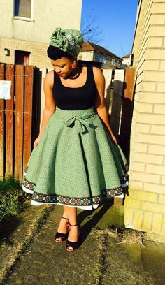 African shweshwe Styles and Outfits - Reny styles South African Dresses, African Wear Dresses, Latest African Fashion Dresses, African Print Fashion, African Attire, Seshweshwe Dresses, South African Fashion, Funky Dresses, Stylish Dresses