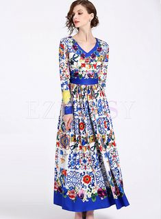 Shop for high quality Vintage Print V-neck Pleated Maxi Dress online at cheap prices and discover fashion at Ezpopsy.com