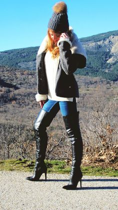 Why do I have a board full of stuff I afford? Will I keep pinning to it? Botas Y Leggings, Boots And Leggings, Jeans And Boots, Thigh High Boots, High Heel Boots, Over The Knee Boots, High Heels, Sexy Boots, Black Boots
