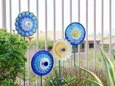 SALE Garden Art Upcycled Recycled Glass Plate Flower by jarmfarm