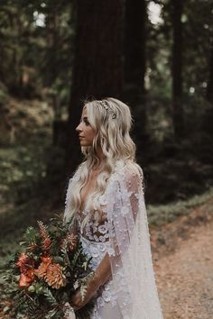 Lace bridal gown with sheer cape | Image by Brandon Scott Photo Co.