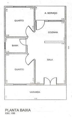 Projeto de casa de 2 quartos sala cozinha banheiro e área Minimalist House Design, Small House Design, Minimalist Home, Little House Plans, Tiny House Plans, Bungalow Floor Plans, House Floor Plans, 20x40 House Plans, Plaza Design