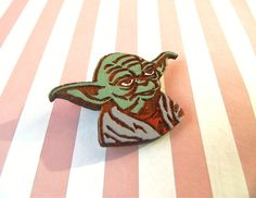 Star wars Yoda pin wooden brooch handcrafted gift wood organic natural Handmade